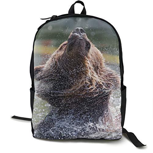 Unisex-Rucksack, klassisch, mit Bärenmotiv, für Reisen, Camping, Outdoor, Laptop, Tagesrucksack