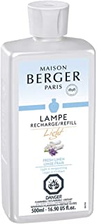 MAISON BERGER Light Fresh Linen Lampe Berger Fragrance Refill for Home Fragrance Oil Diffuser - Purifying and perfuming Your Home - 16.9 Fluid Ounces - 500 milliliters