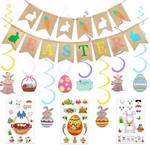 Zsroot Decoración para fiestas de Pascua, conejos, zanahorias, arpillera, decoración para colgar con conejos de Pascua, cesta de flores, pegatinas para fiestas de Pascua, ministerio de interiores