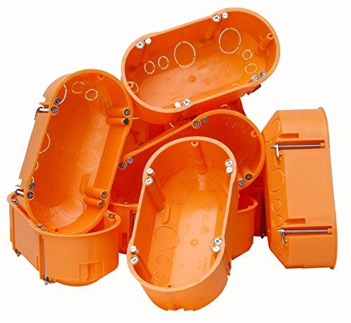 Kopp 10x Hohlwandschalterdose 2-Fach, mit Doppelkammer, Isolierstoff, Dosentiefe 47mm, orange, 143x70mm, 352500001, 10 Stück