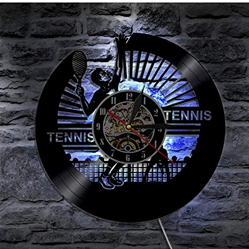 WFQDT 1 Pezzo Gioca a Tennis Disco in Vinile Orologio da Parete Sport Retroilluminazione a LED Modern Vintage Home Decor Orologio Regalo per atleta di Sport