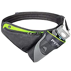 PYFK Running Belt, water bottle holder, green color. Hydration belt for marathons.