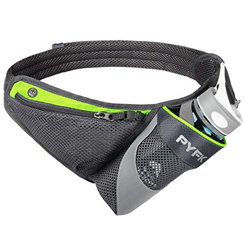 PYFK Running Belt Hydration Waist Pack with Water Bottle Holder for Men Women Waist Pouch Fanny Bag Reflective (Green)