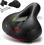 Cómodo sillín de bicicleta para hombre y mujer, asiento de bicicleta con doble bola que absorbe los golpes, espuma viscoelástica, impermeable, ancho