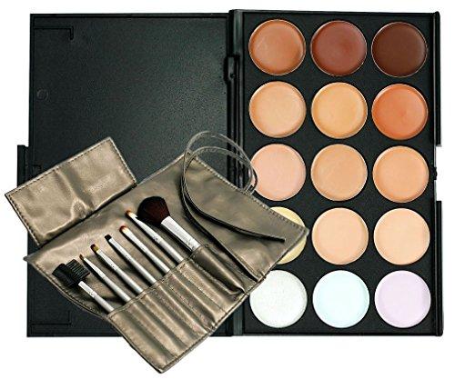 Boolavard® TM 15 Belle Color Palette Correcteur Correcteur Camouflage Fard à Paupières avec 7pcs Pinceau de Maquillage