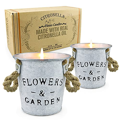 Citronella Candles Outdoor, 13.5 Oz Long Lasting Soy Candle Bucket with Fresh Citronella Oil for Bedroom Kitchen Garden Patio Balcony Indoor Outdoor, 2 Pack