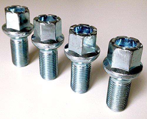 Boulons de roue en alliage, plaqué zinc M14 x 1,5 (M14 x 1,5) Radius Seat, 17 mm hexagonale, 27 mm Longueur du filetage. Lot de 4 boulons de roue (Au003)