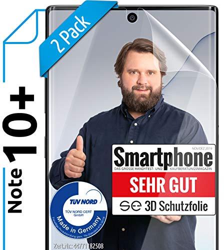 [2 Stück] 3D Schutzfolien kompatibel mit Samsung Galaxy Note 10 Plus [Made in Germany - TÜV NORD] 100% Fingerabdrucksensor - Hüllenfreundlich – Transparent – kein Glas sondern Panzer-Folie TPU