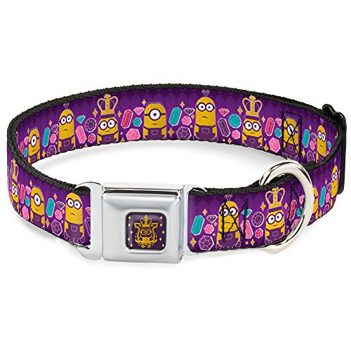 Dog Collar Seatbelt Buckle Royal British Invasion 3 Minions Jewels Purple Pink Turquoise 15 to 26 Inches 1.0 Inch Wide