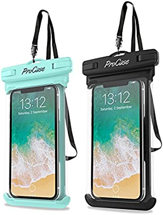"ProCase Universal Waterproof Case Cellphone Dry Bag Pouch for iPhone Xs Max XR XS X 8 7 6S Plus, Galaxy S10 Plus S10 S10e S9/Note 9, Pixel 3 XL up to 6.5"" - 2 Pack, Green/Black"