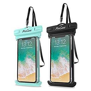 ProCase Universal Waterproof Case Cellphone Dry Bag Pouch for iPhone 12 Pro Max 11 Pro Max Xs Max XR XS X 8 7 6S Plus SE 2020, Galaxy S20 Ultra S10 S9 S8/Note 10 9 up to 7″ -2 Pack, Green/Black