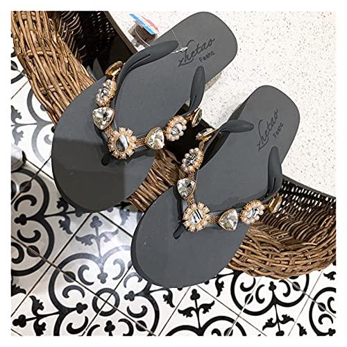 `Star Empty Pantuflas de Mujer Pendiente de Diamantes de imitación de Lujo con Chanclas de 5 cm de Fondo Grueso, Chanclas de tacón Alto, Moda de Verano, Sandalias de Playa y Zapatillas