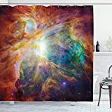 Roman Lin Outer Space Decor Duschvorhang von Ambesonne,Universum Abstract Nebula Galaxy Chakra Infinity Psychedelic Fotografie Druck,Polyester Stoff Bad Set mit Haken,69 X 152X183CM Multicolor
