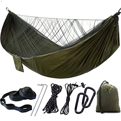 HelloCreate Camping Hammock with Storage Bag, Camping Hammock Portable Folding Outdoor Hanging Hammock with Mosquito Net for Two Person