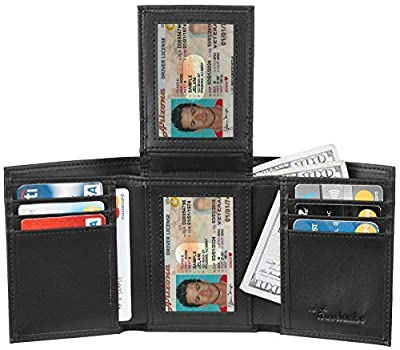Travelambo RFID Leather Trifold Wallets for Men Credit Card Holder with ID Window (napa black)