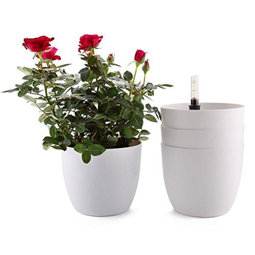T4U 18cm Selbstwässernder Blumentopf mit Wasseranzeiger Weiß 4er-Set, Selbstbewässerung Wasserspeicher Pflanzgefäß Übertopf für Innen- und Außenbereich