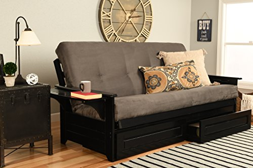 Kodiak Furniture Phoenix Full Size Futon In Black Finish With Storage Drawers, Suede Gray