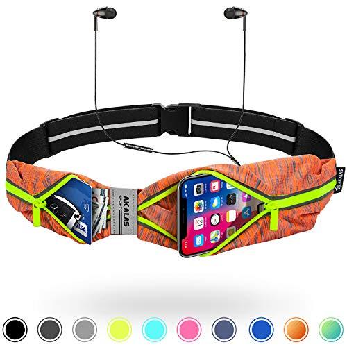 Akalas Laufgürtel Ultraleicht, Sport Hüfttasche iPhone 7 8 X 11 Samsung Galaxy S10 wasserdichte Bauchtasche für Damen Herren, Erweiterbar Lauftasche für Laufen, Wandern, Fitnessstudio