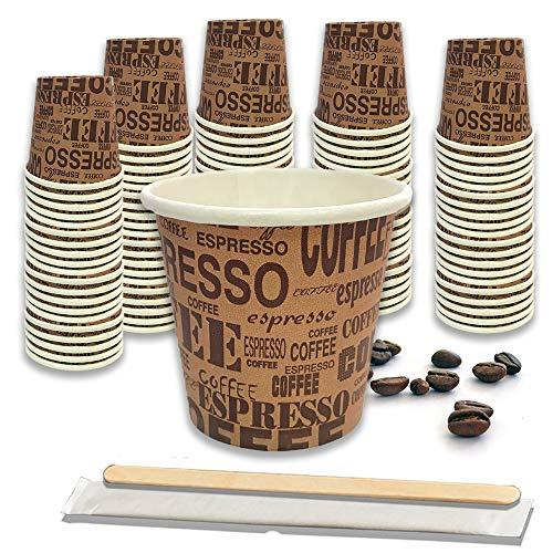100 Pz Bicchieri Caffe di Carta Biodegradabili Biocompostabili Tazzine 75ml + 100 Pz Palettine Legno Betulla