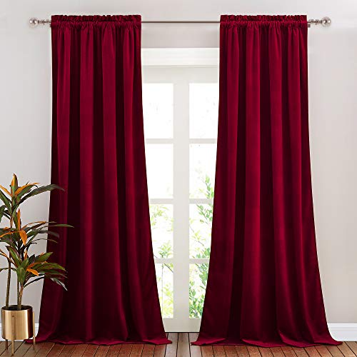 NICETOWN Red Velvet Curtains and Drapes for Bedroom, Home Decor Panels for Home Theatre/Film Room/Stage (Set of 2, Rod Pocket Design, 84 inches Long)