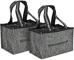 com-four® 2x Herrenhandtasche, Filztasche, Flaschentasche aus Filz für 6 Flaschen, 6er Träger bis 0,5 L, grau/schwarz, 24 x 15 x 15 cm (02 Stück - Filz)