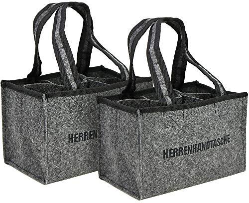 com-four® 2x Herrenhandtasche - Filztasche für Getränke - Flaschentasche aus Filz für 6 Flaschen - 6er Träger bis 0,5 L, grau/schwarz, 24 x 15 x 15 cm (Motiv 1-2 Stück)