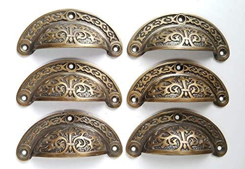 6 Antique Victorian Style Vintage Brass Apothecary bin Pull Handles 3' Centers#A5