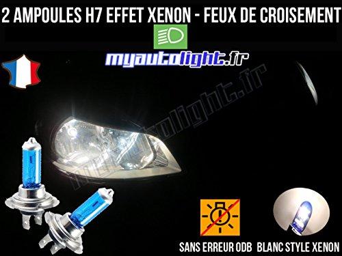 MyAutoLight- Pack ampoules H7 blanc xenon feux croisement-code pour CLIO 3