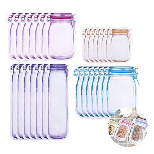 28 Stück Einmachglas Flaschentaschen, Aufbewahrungsbeutel für Lebensmittel mit Reißverschluss Snack-Sandwich-Druckverschlussbeutel, Wiederverwendbare Frische Aufbewahrungstasche für Wanderwanderungen