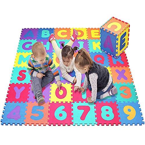 Star Ibaby Alfombra Puzzle Bebé 36 Piezas - 195x195 cm - Espuma XPE Ecologica - No tóxica - Modelo Letras/Numeros.