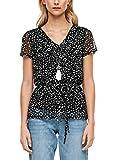 s.Oliver RED Label Damen Mesh-Shirt mit Taillenband Black AOP 42