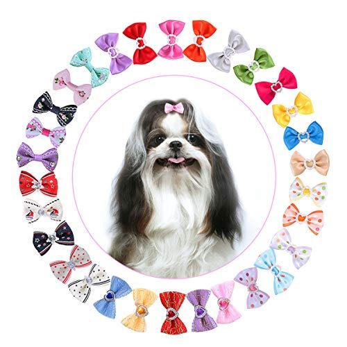 UEETEK Haustier Haar Bögen, 30 Paare / 60 STÜCKE Niedlich Hund Katze Haarband Haarspange mit...