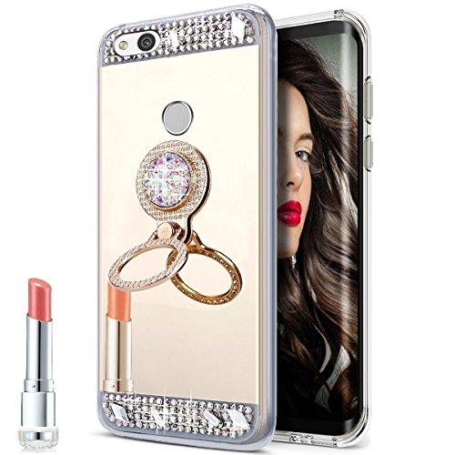 Funda Compatible con para Huawei P8 Lite 2017, Diamante Bling Glitter Funda Protectora con Anillo Soporte Case Silicona TPU Funda Protectora Cristal Flexible Gel Bumper Case
