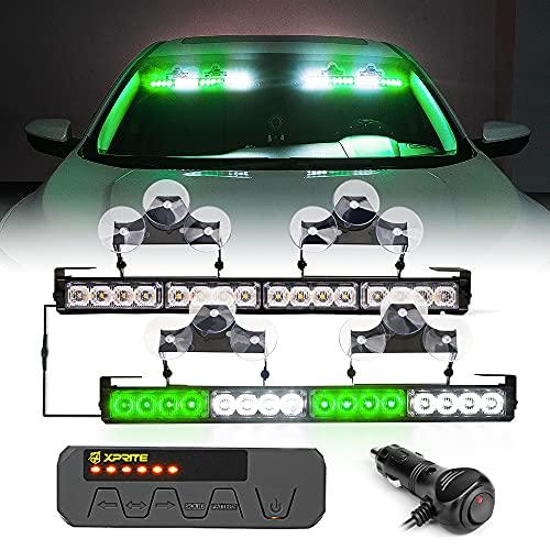 XPRITE LED 비상 교통 자문단 스트로브 듀얼 라이트 바 실내 윈드실드 데크 안전 위험 경고 플래싱 라이트 바 W   컨트롤 박스 법 집행 차량 픽업 트럭 화이트 & 그린