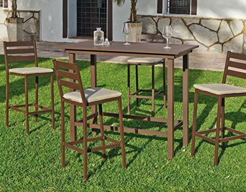 HEVEA - Bar de jardin avec 4 chaises Galicia
