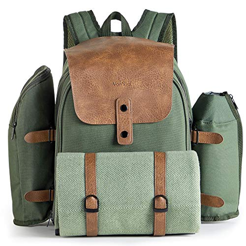 VonShef Large Picnic Backpack with Insulated Cooler Compartment - 4 Person Picnic Set with Stainless Steel Cutlery, Picnic Blanket, Removable Bottle Holder and Wine Carrier - Green Adventure Backpack