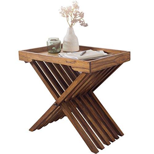 WOHNLING Bijzettafel van massief hout, Sheesham design en tafelframe, inklapbaar, met ketting, landhuisstijl, woonkamertafel, echt hout, donkerbruin, salontafel natuurproduct houten tafel