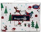 Rugged Bear North Pole Christmas Twin Size Warm Cotton Flannel Sheet Set Christmas Trees Santa Reindeers Dogs Snowman Polar Bears