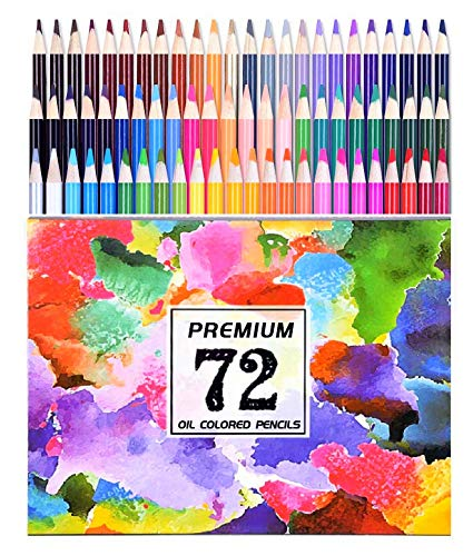 72 Oil Colored Pencils for Adults Coloring and Kids Vibrant Artist Pencils for Drawing Art Sketching Shading and Coloring