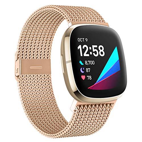 CAVN Kompatibel mit Fitbit Versa 3 Armband & Sense Armbänder, Magnetschloss Edelstahl Metall Ersatzband Ersatz Armbänder Wristband Handgelenk Damen Herren für Versa 3/Sense