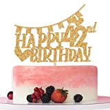 Gold Glitter Happy 42nd Birthday Cake Topper,Hello 42,Cheer to 42 Years Old, 42nd Anniversary/Birthday Party Decoration Supplies