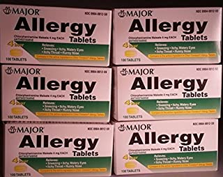[6 Pack] Anti-allergy Antihistamine Chlorpheniramine Maleate 4 Mg Generic for Chlor-trimeton Allergy 100 Tablets Per Bottle 6 Pack Total 600 Tablets by Chlor-Trimeton