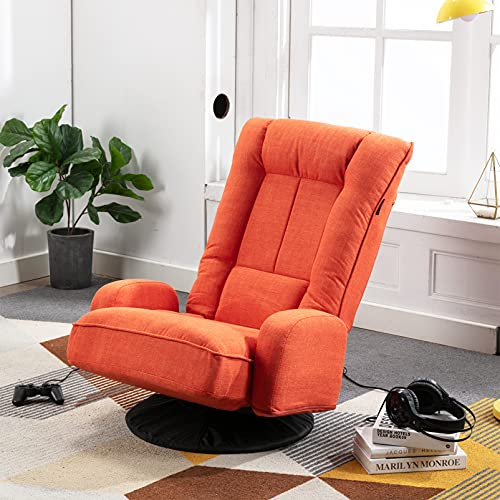 Artechworks Swivel Folding Sofa Chair Linen Floor Video Gaming Chair High Back Lazy Sofa with Arms,6-Position Adjustable Padded Recliner Sleeper for Teens,Living Room,Bedroom,Office,Orange