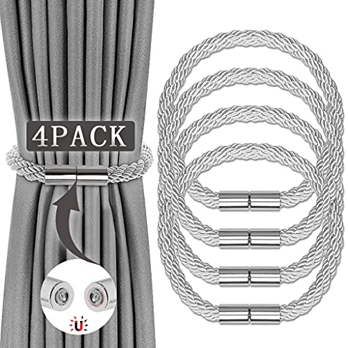 STEEIRO 4 STK Magnetische Vorhang Raffhalter, Einfachheit Raffhalter für vorhänge, Schlaufen Vorhangband Seil Rücken Vorhanghalter, starken haltbaren gardinen Raffhalter, für Heim Dekoration