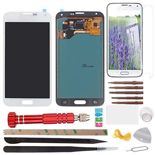YHX-OU Für Samsung Galaxy S5 I9600 SM-G900 G900F LCD Display Touchscreen Ersatz Bildschirm mit Komplett Werkzeug (Nicht für G900H) (Weiß)