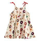 WOCACHI Toddler Girls Strap Dresses, Toddler Infant Baby Girls Cartoon Floral Sleeveless Strap Princess Dress Outfits New Born Birth Knitted Rib Boatneck Sleeveless Cute Cartton Patern Blanket o-Neck