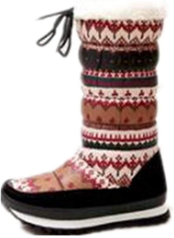 JOYBI Women Winter Fashion Platform Mid Calf Boot Slip On Cotton Padded Print Warm Round Toe Snow Boots