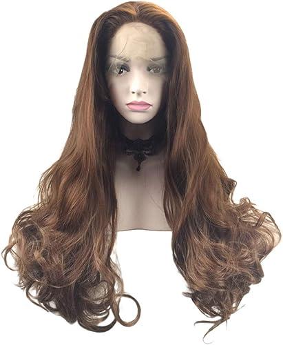 Lace Front Langes Lockiges Haar Handgefertigt Perücke Natürlich Kunstfaser Cosplay Barnacht Club Hochzeit die Damen Frisur