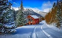 SHanguoY大人と子供のための500ピースの木製パズル、冬の風景クリスマススノーハウス、雪景色家族のゲーム、子供の誕生日プレゼント、ハロウィーンの贈り物、クリスマスのサプライズギフト、アートパズル、家の壁の装飾