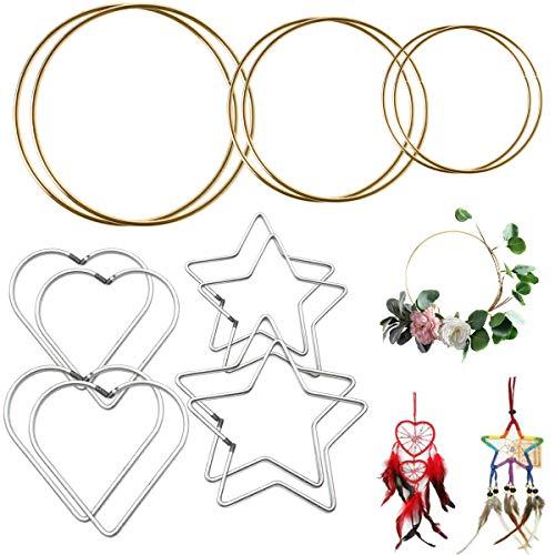 YWQ 14 Aros de Atrapasueños,Aros de Metal,Anillos de Macramé de Metal, Aros Redondos para Atrapasueños, Macramé, Manualidades, Decoración del Hogar